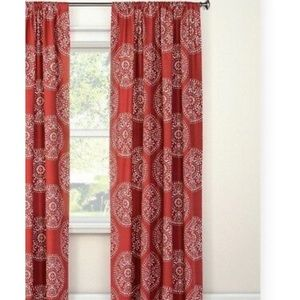 Threshold medallion tile curtain panels